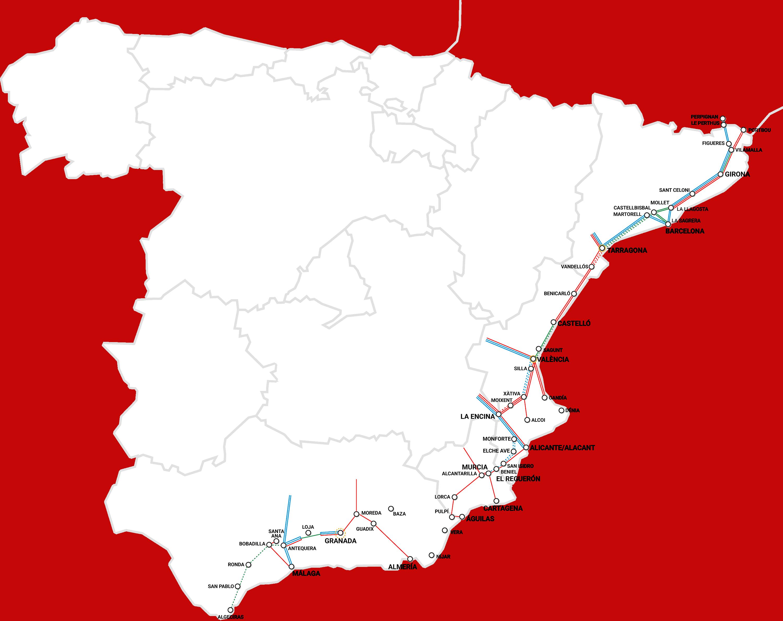 ciudades AVE corredor mediterraneo