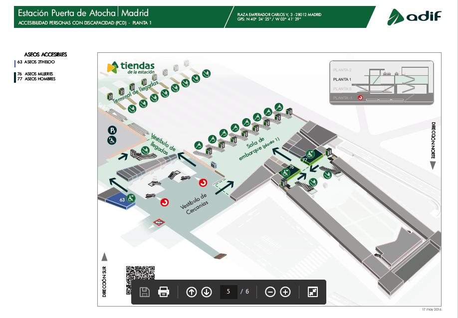 Accesibilidad de la primera planta en la estación de Atocha