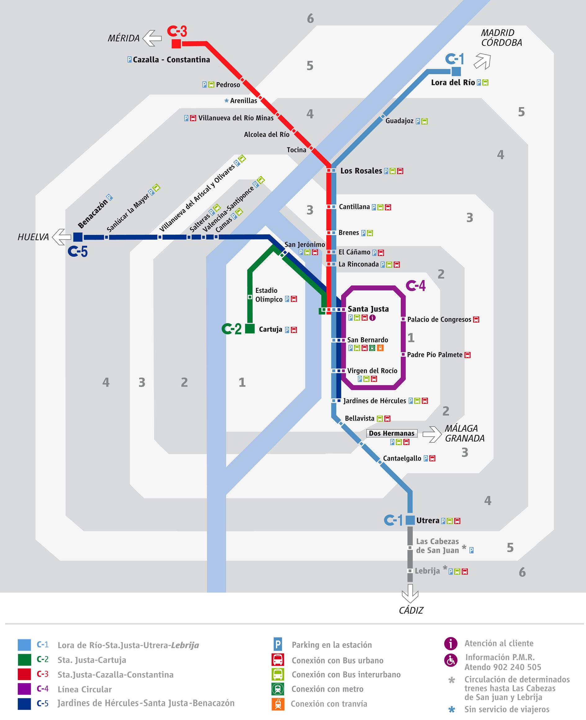 Líneas de cercanías de Sevilla