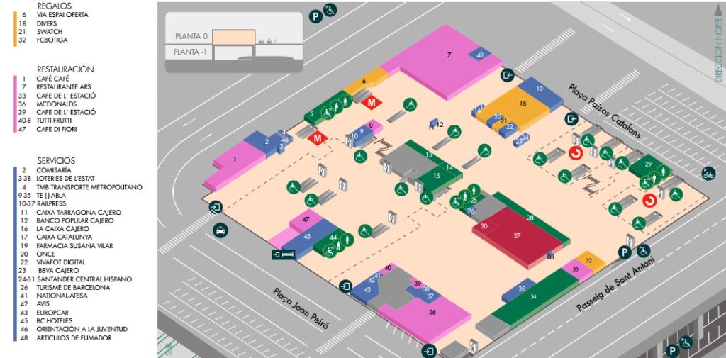 Plano de las tiendas, bares y restaurantes de Sants