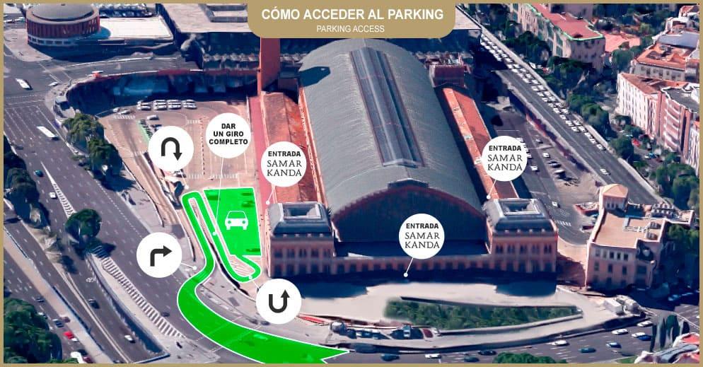 Plano de acceso al parking de la estación de Atocha