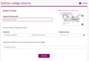 Código retorno Renfe